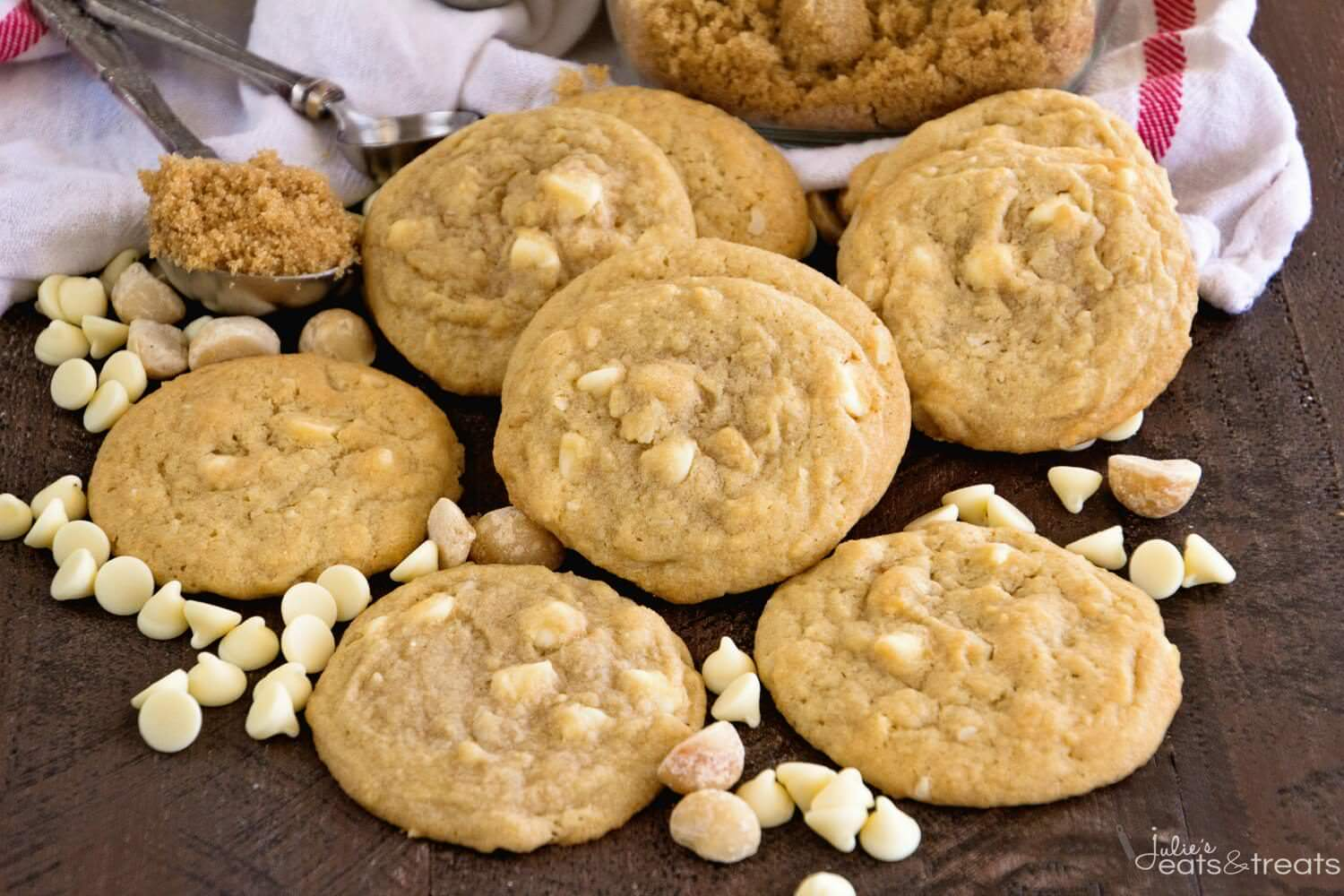 Macadamia Nut Cookies on brown board
