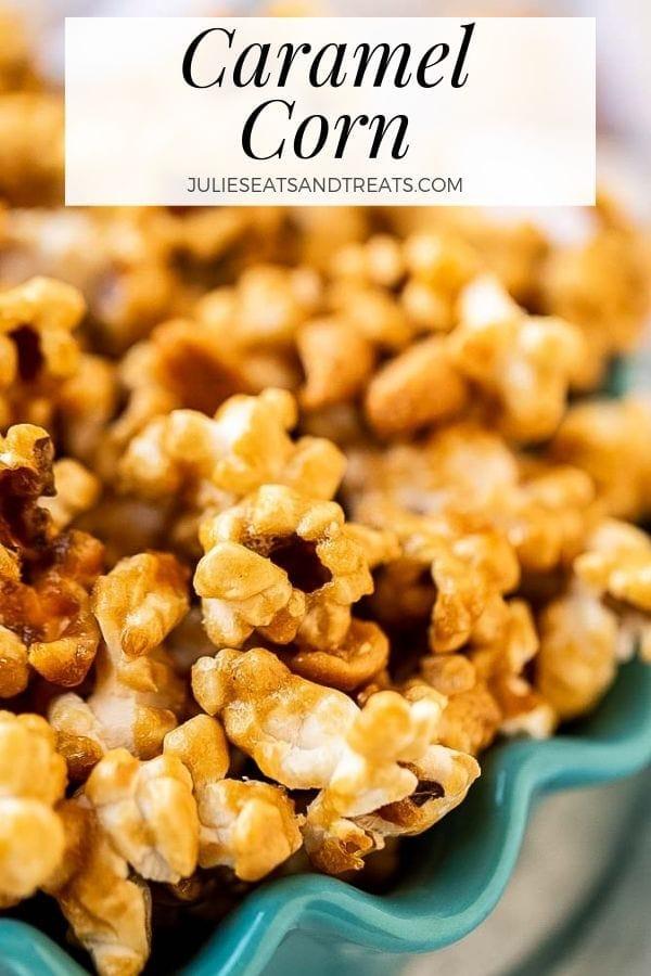 Caramel corn in a blue bowl