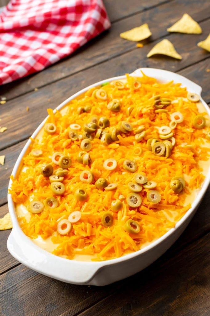 Easy Taco Casserole in white dish