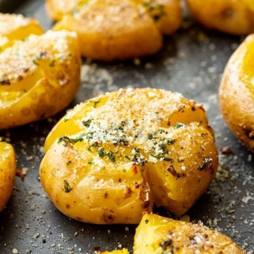 Garlic-Smashed-Potatoes on pan