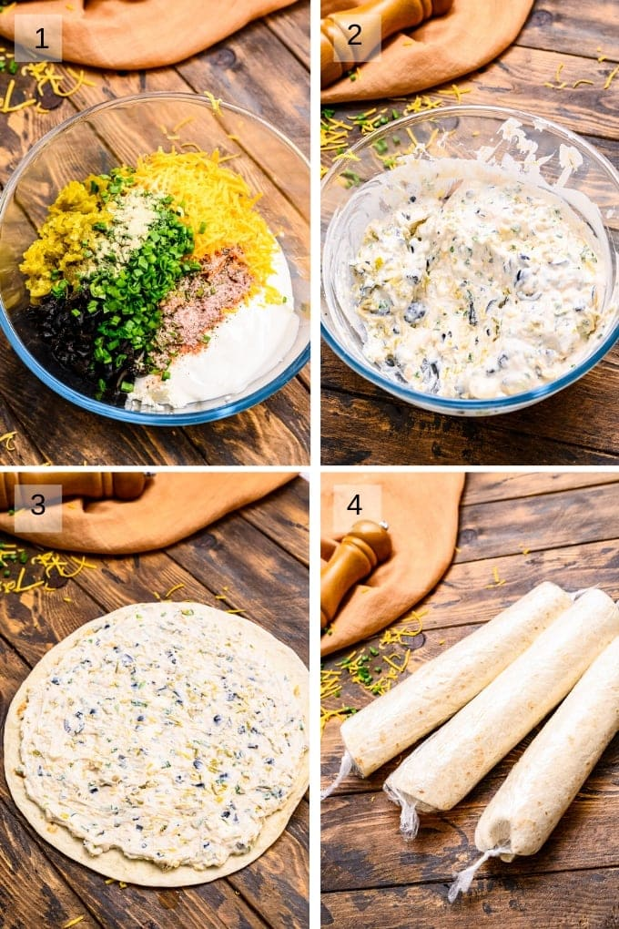 Collage of four images showing how to mix ingredients for pinwheels creamed then spread on tortilla and rolled up