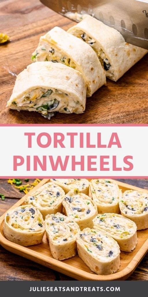 Pin Image Tortilla Pinwheels. Top image of a tortilla wrap being cut into pinwheels, bottom image of a plate with nine tortilla pinwheels on it