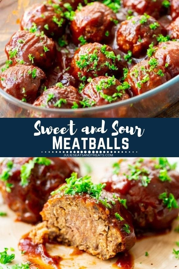 Collage with top image of sweet and sour meatballs in a glass bowl, middle navy banner with white text reading sweet and sour meatballs, bottom image of a meatball with sauce cut in half on a cutting board