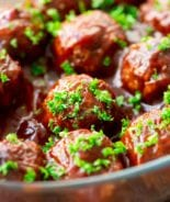Glass dish of Sweet-n-Sour-Meatballs