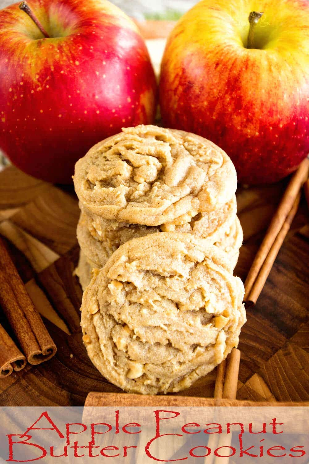 Apple Peanut Butter Cookies ~ Delicious, Soft, Chewy Cookie Recipe Loaded with Peanut Butter, Cinnamon and Fresh Apples!