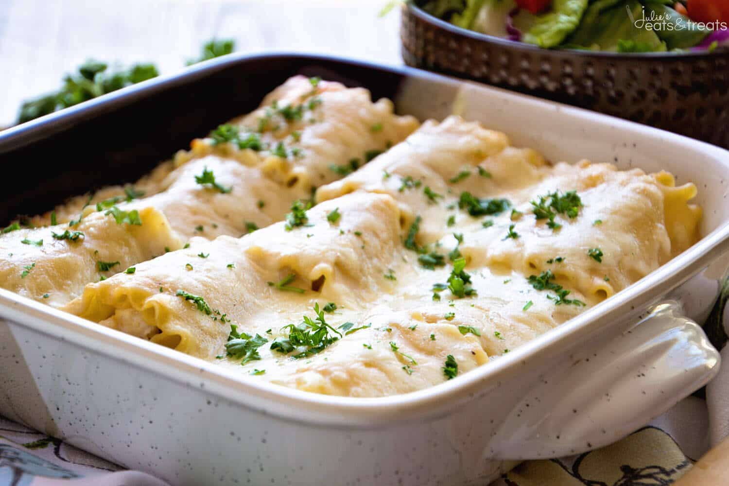 Lasagna Roll Ups in baking dish