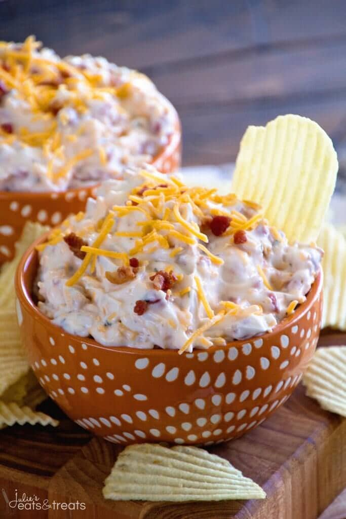 Crack Dip ~ Super Simple Chip Dip Loaded with Cheese, Bacon, Ranch and Sour Cream!vv