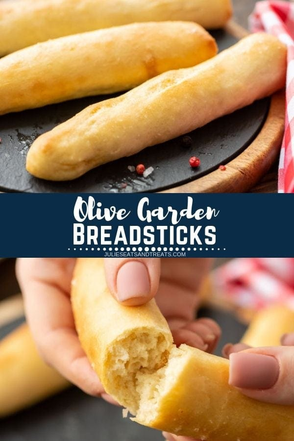 Collage with top image of breadsticks on a black board, middle navy banner with white text reading olive garden breadsticks, and bottom image of hands tearing a breadstick in half