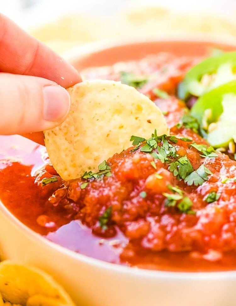 Chip scooping Restaurant Style salsa