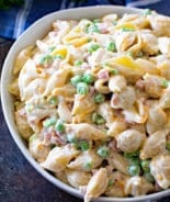 Picture of macaroni salad in white bowl