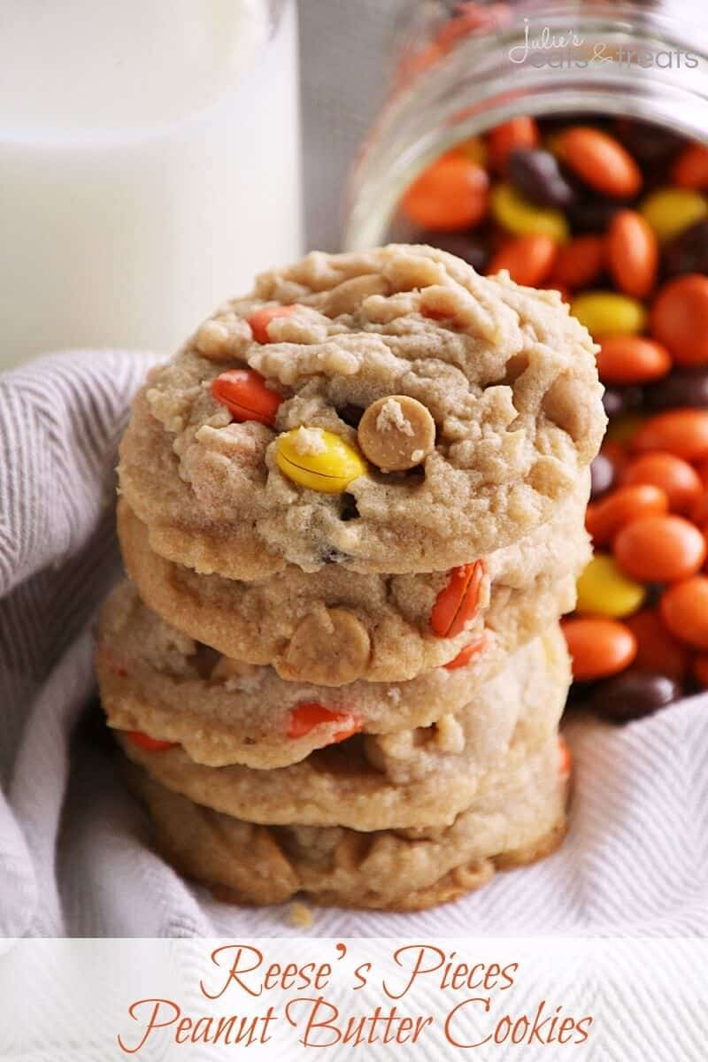 Reese's Pieces Peanut Butter Cookies ~ Perfectly soft, chewy and delicious! Loaded with peanut butter chips & Reese's Pieces! I want to shut from the rooftops that's how amazing these cookies are!