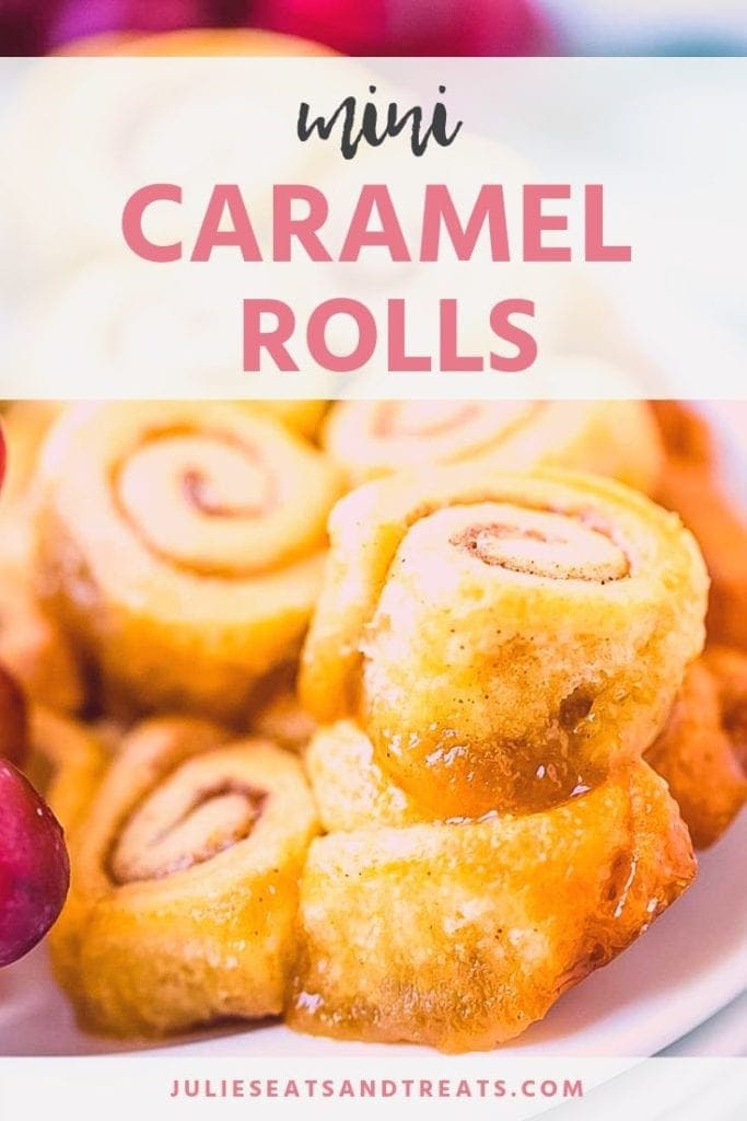 Mini caramel rolls on a white plate