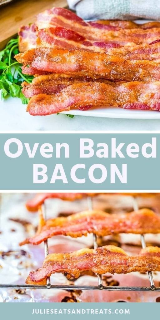 Collage with top image of cooked bacon strips on a white plate, middle blue banner with white text reading oven baked bacon, and bottom image of bacon on wire racks
