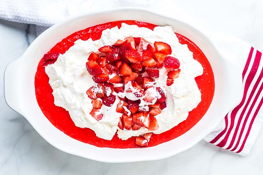 Strawberry Tapioca Salad recipe ingredients in dish