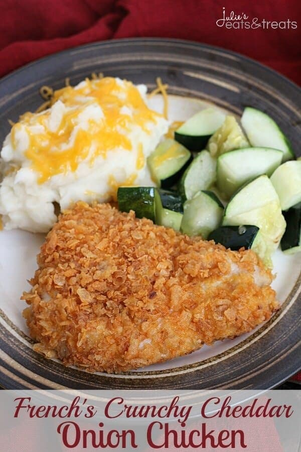 French's Crunchy Cheddar Onion Chicken ~ Quick and Easy Weeknight Meal ...