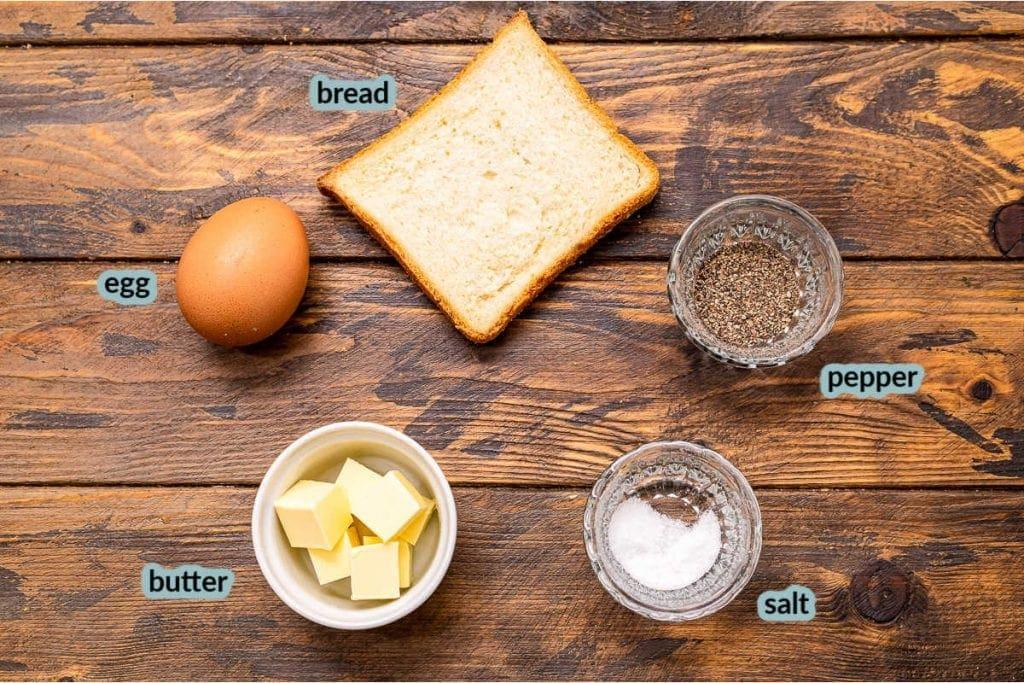 Ingredients needed like bread egg butter salt pepper