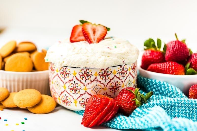 Funfetti Cake Dip in bowl