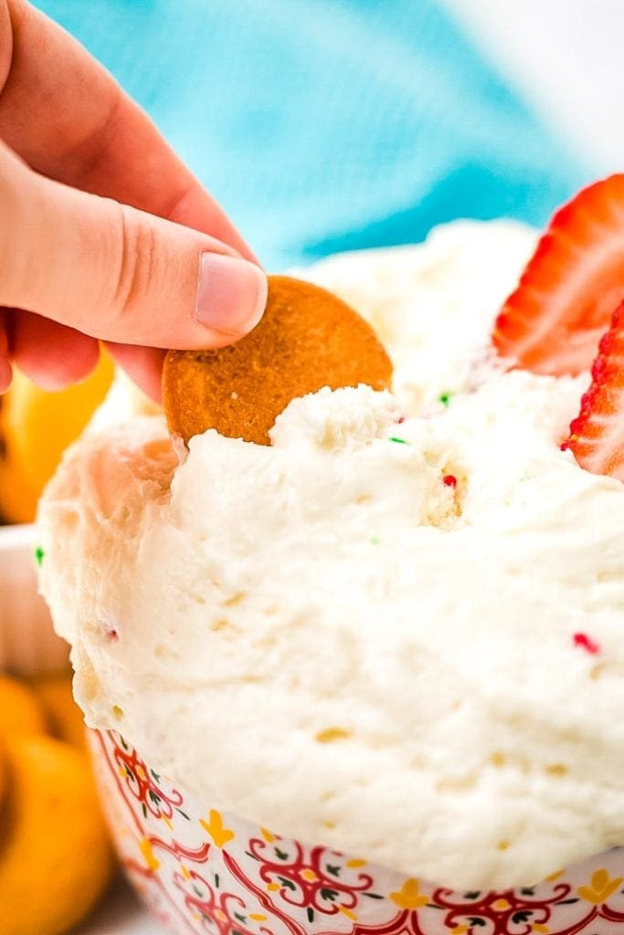 Cracker scooping Funfetti Dip Recipe