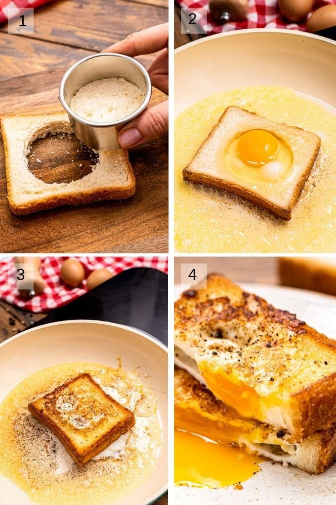 Collage of four images showing how to cut out center of bread and frying egg in the middle