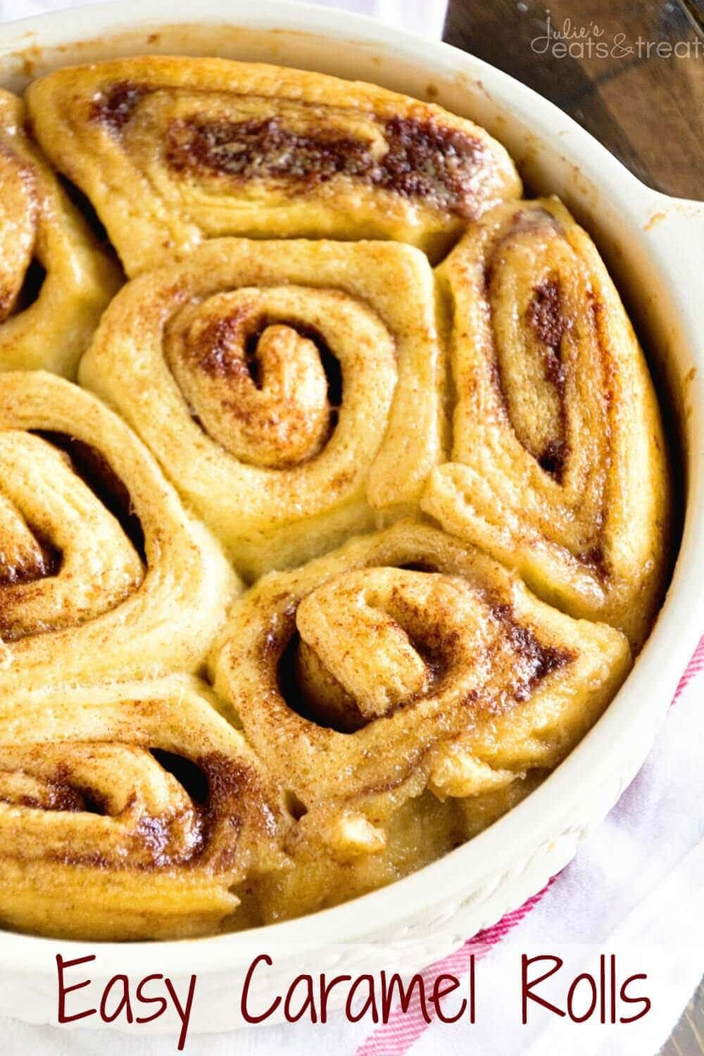Easy Caramel Rolls ~ Only three ingredients stand between you and gooey caramel rolls! Perfect quick and easy recipe for lazy mornings!