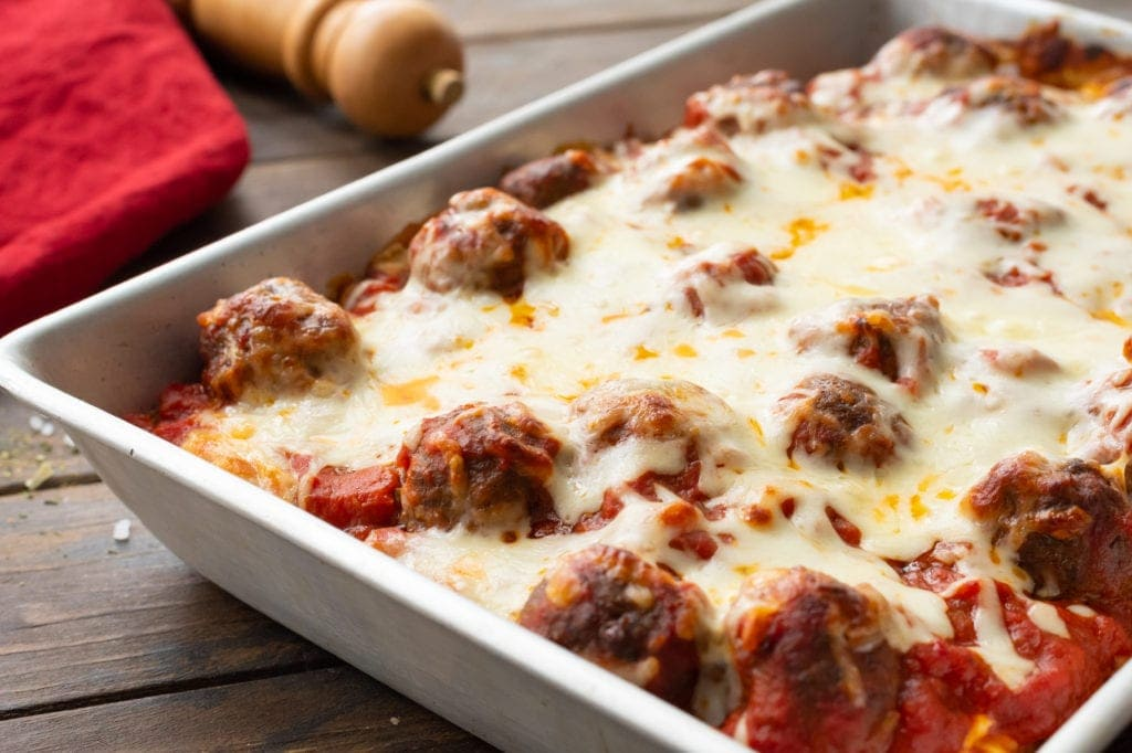 Easy Meatball Sub Casserole in baking dish