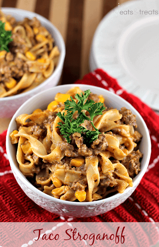 Taco Stroganoff ~ Add a kick to your favorite stroganoff loaded with Corn, Taco Meat and Pasta!