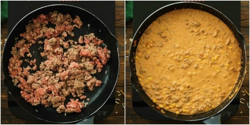 Collage of two images showing how to make taco stroganoff in skillet
