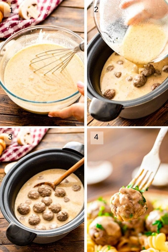 Collage of step by step photos for crockpot swedish meatballs