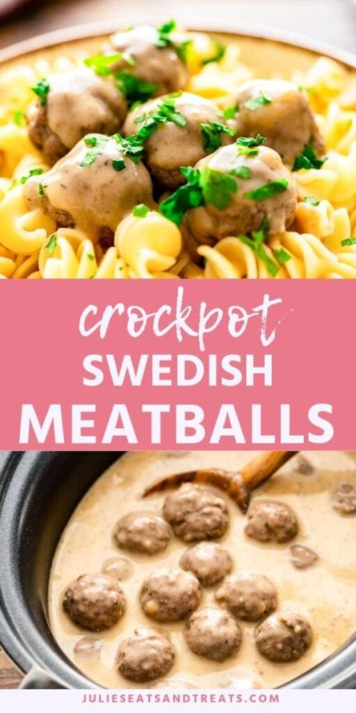 Crock pot swedish meatballs collage. Top image of meatballs over pasta in a brown bowl, bottom image of meatballs and sauce in a crockpot