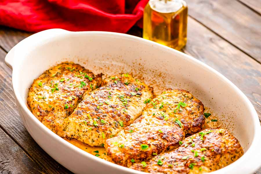 Parmesan Crusted Pork Chops in glass dish