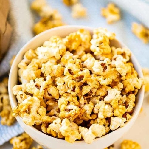 Caramel Corn Recipe in bowl with bag