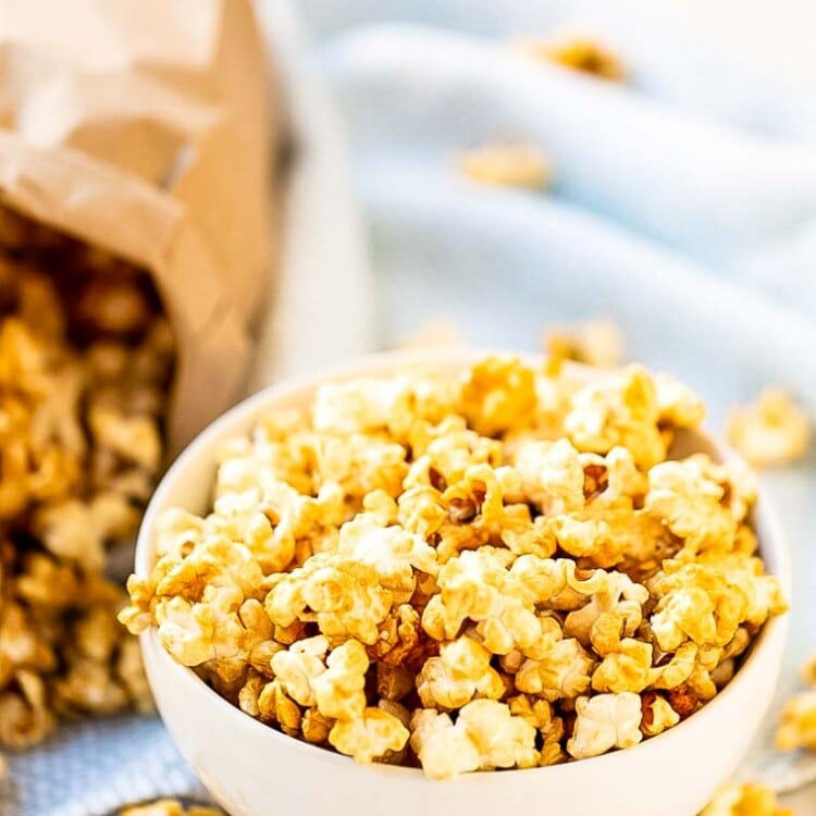 Caramel Corn in bowl with bag in background