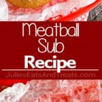 Meatball Sub Recipe ~ Perfect for Quick Dinners! Take a Bun and Stuff it with Meatballs, Top it with Spaghetti Sauce, Mozzarella, Cheese and Parmesan!
