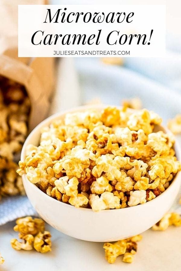 Microwave caramel corn in a white bowl