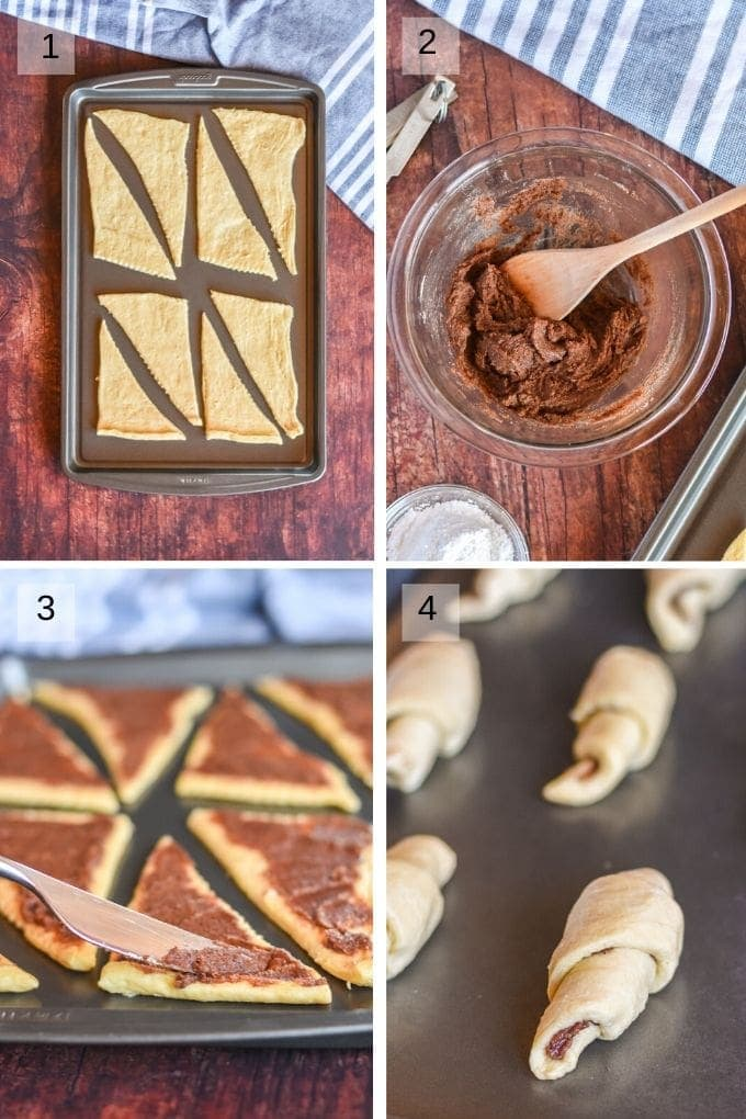 Four Image collage on steps to making cinnamon crescent rolls