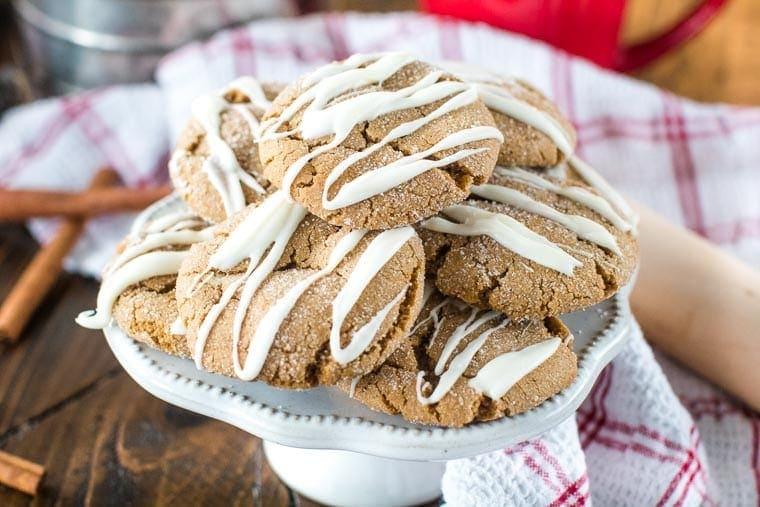 Molasses Cookies on white cake platter