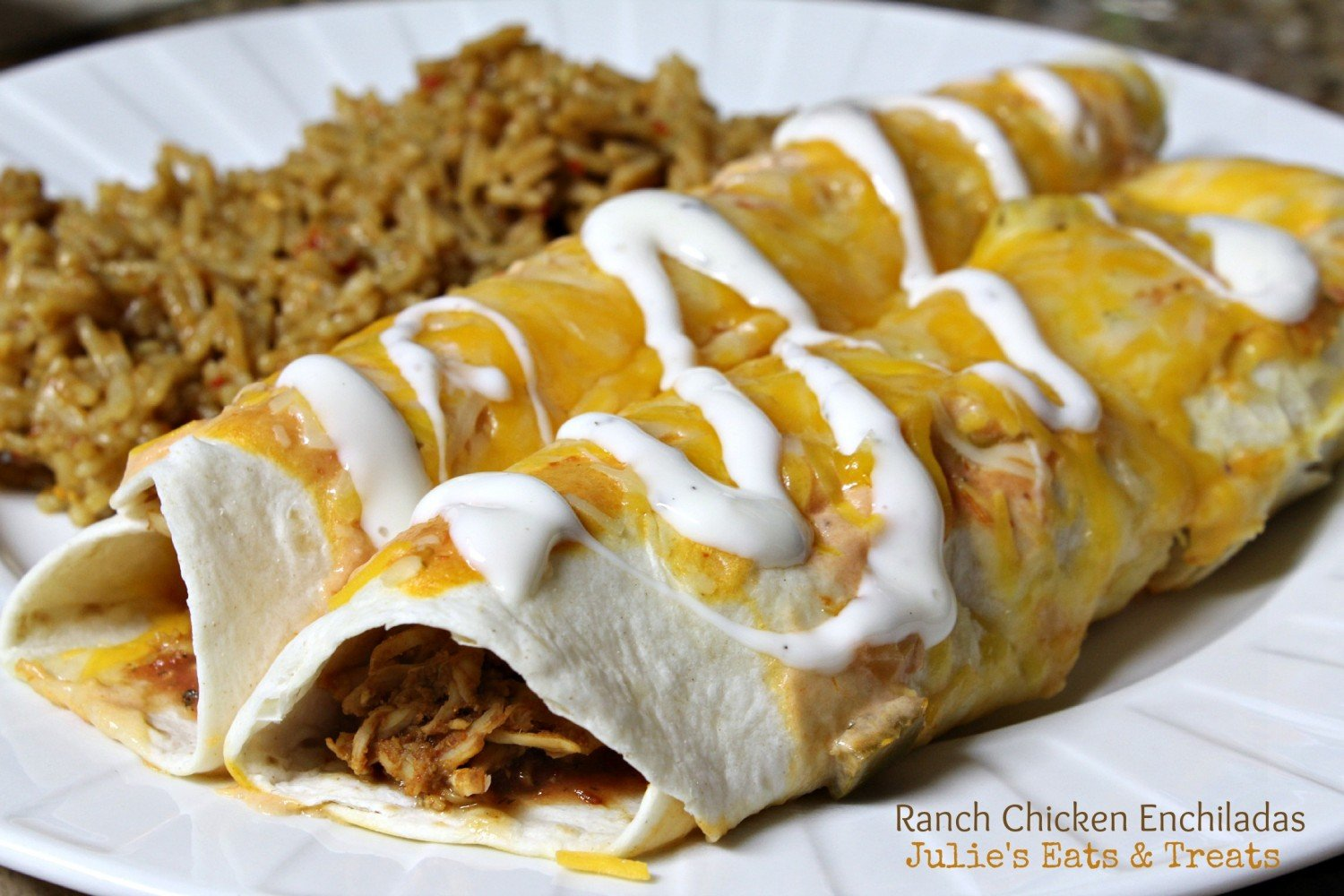 Julie's Eats & Treats ~ Ranch Chicken Enchiladas ~ Enchiladas with a twist!