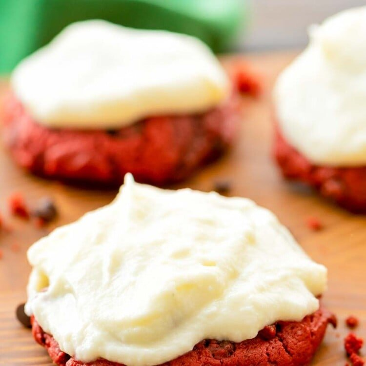 Red Velvet Cookies on wood cutting board