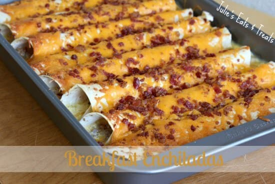 Breakfast Enchiladas ~ Tortillas stuffed with sausage, bacon and eggs made the night before ~ www.julieseatsandtreats.com