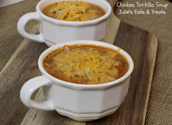 Chicken Tortilla Soup ~ Easy, dump and enjoy soup ~ www.julieseatsandtreats.com #recipe #soup