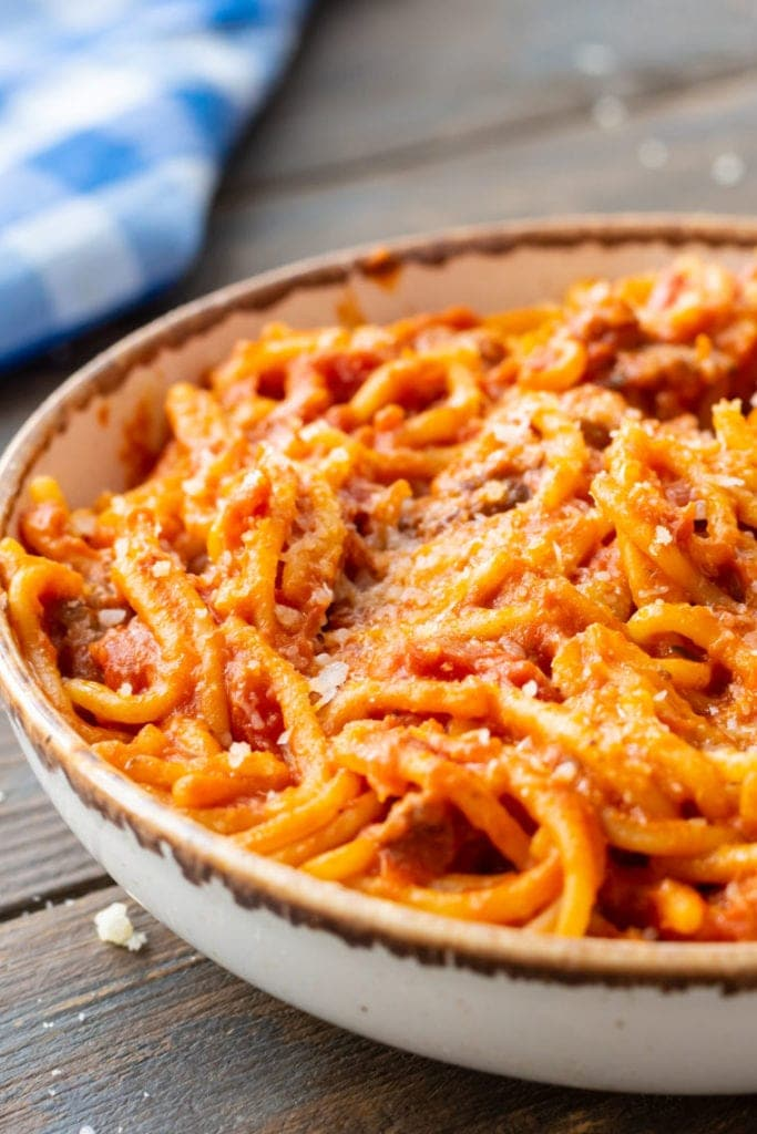 Crock Pot Spaghetti in bowl