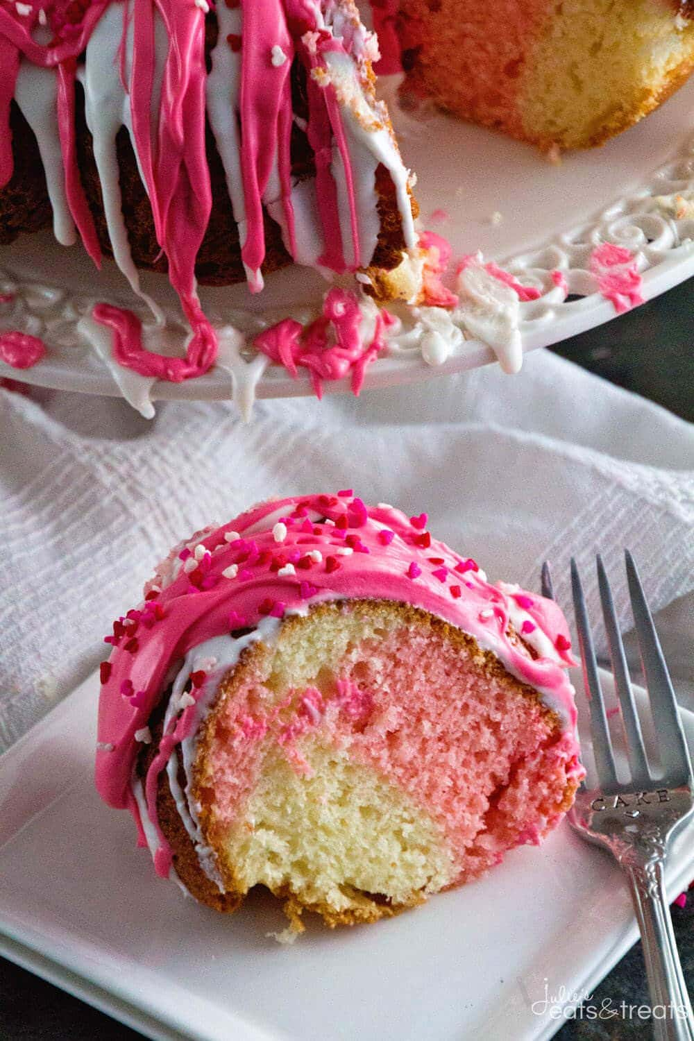 Swirl Valentine Cake ~ Super Easy Dessert Starts with a Boxed Cake Mix and Becomes the Perfect Easy Valentine's Day Dessert!