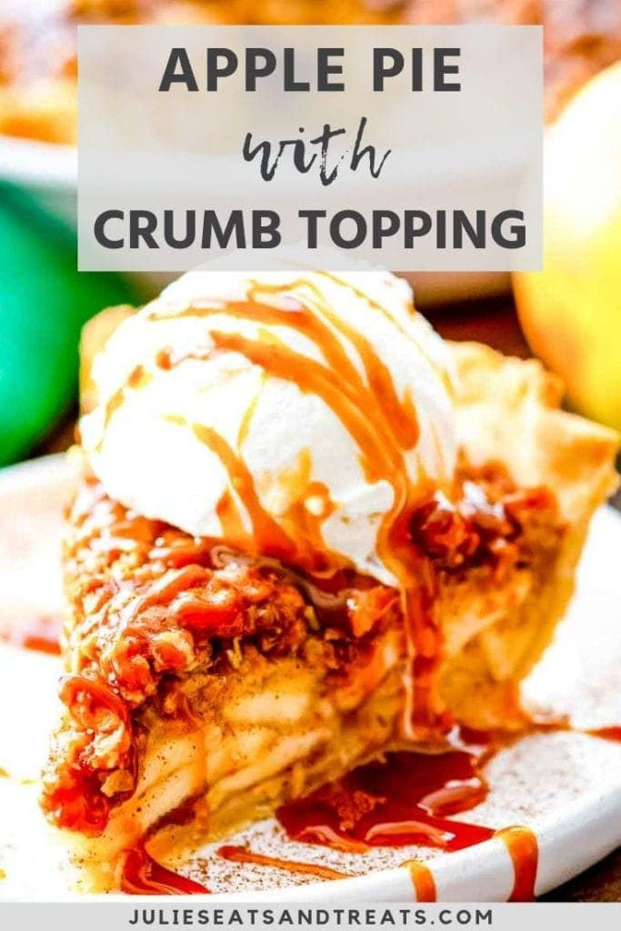 Slice of Apple pie with crumb topping and ice cream on top