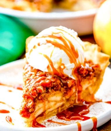 Apple Pie with crumb topping recipe on plate