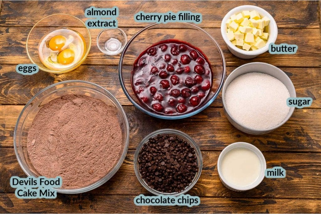 Overhead image of the ingredients for recipe cake mix eggs extract cherry pie filling and more