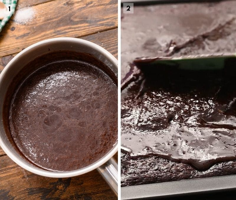 Collage of two images including a saucepan with homemade chocolate frosting and a spatula smoothing frosting over bars