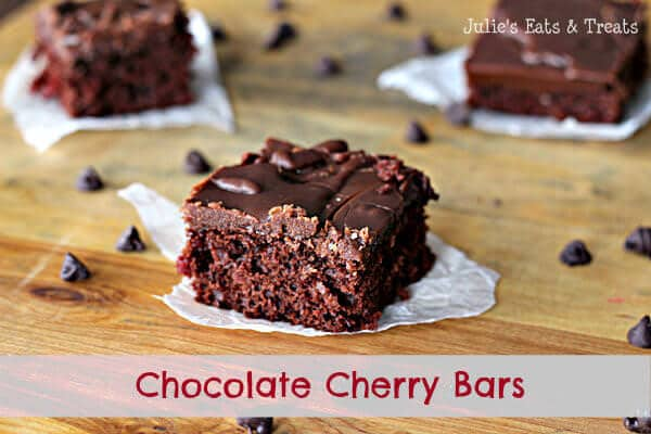 Chocolate Cherry Brownies ~ Fudgy Brownies with a surprise of Cherry! www.julieseatsandtreats.com #brownies #recipes #cherry
