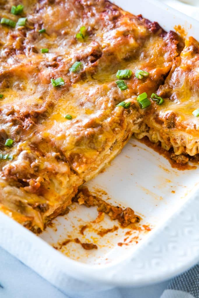 Mexican Lasagna in white Pan