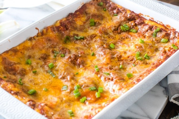 Mexican Lasagna recipe made in white pan