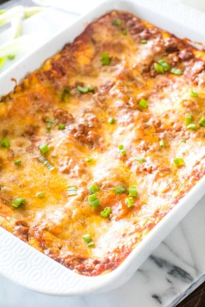 Mexican Lasagna in white pan after being cooked